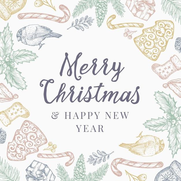 Wesołych świąt I Szczęśliwego Nowego Roku Streszczenie Tło Wzór, Zaproszenie Lub Kartkę Z życzeniami Z Retro Typografii. Darmowych Wektorów