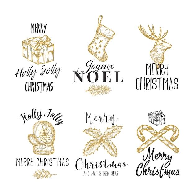 Wesołych świąt I Szczęśliwego Nowego Roku Streszczenie Znaki, Etykiety Lub Zestaw Szablonów Logo Darmowych Wektorów