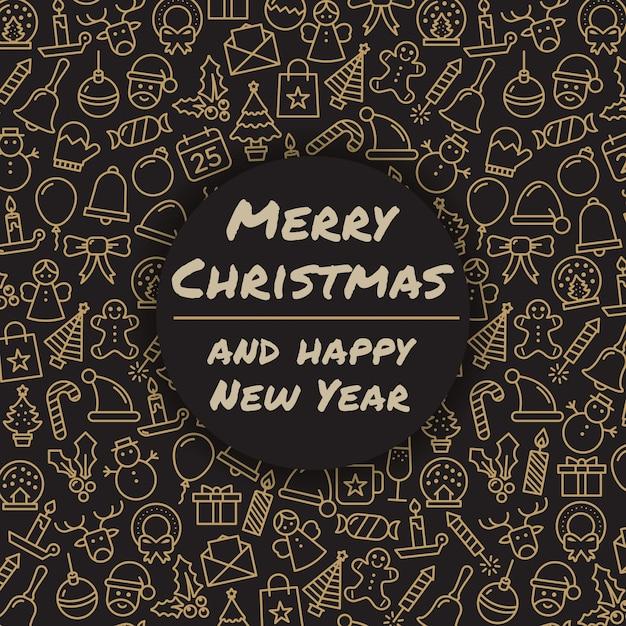Wesołych świąt I Szczęśliwego Nowego Roku. święta Bożego Narodzenia Z życzeniami. Merry Christmas Typografia I Kaligrafia. Ikony Xmas. Darmowych Wektorów