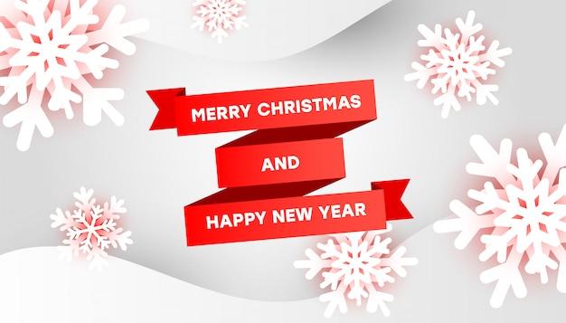 Wesołych świąt i szczęśliwego nowego roku szablon karty z pozdrowieniami z czerwoną wstążką, płatki śniegu 3d i płynne kształty Premium Wektorów