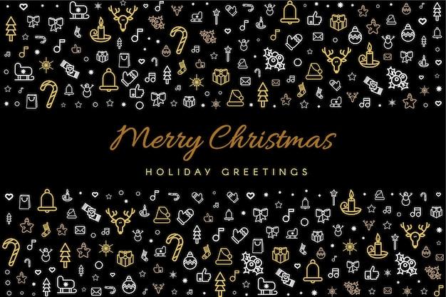 Wesołych świąt I Szczęśliwego Nowego Roku Szablon Karty Z Pozdrowieniami Premium Wektorów