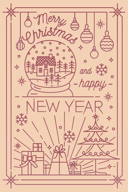 Wesołych świąt I Szczęśliwego Nowego Roku Szablon Pocztówki Z świątecznymi Dekoracjami Zimowymi Narysowanymi W Stylu Grafiki Liniowej - Płatki śniegu, Jodła, Prezenty, Bombki, śnieżna Kula. Ilustracja Wektorowa Monochromatyczne. Premium Wektorów
