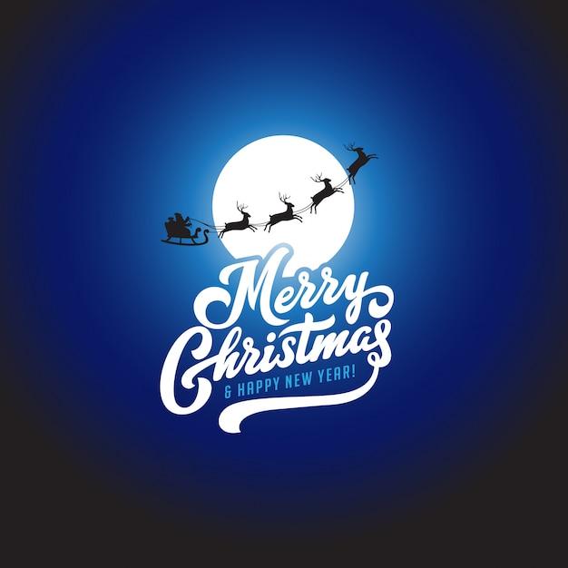 Wesołych świąt I Szczęśliwego Nowego Roku Tekst Kaligraficzna Napis Z życzeniami Szablon Wektor. Premium Wektorów