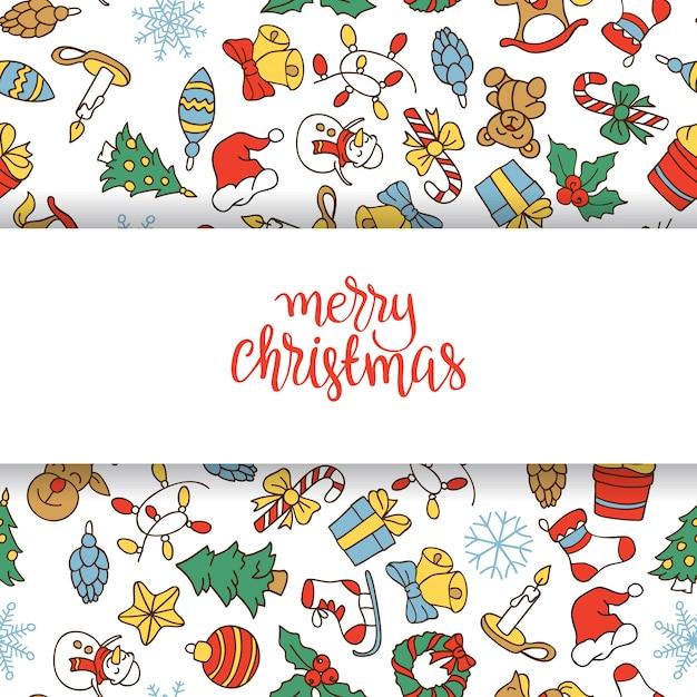 Wesołych świąt i szczęśliwego nowego roku tło z kolorowymi ikonami. Darmowych Wektorów