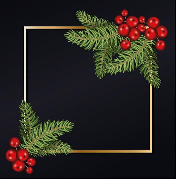Wesołych świąt liście z wiśniami w złotym tle ramki Premium Wektorów