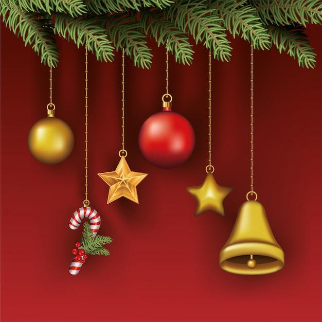 Wesołych świąt liście z zestawem wiszące ikony Premium Wektorów