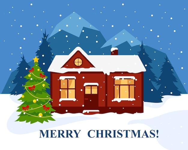 Wesołych świąt Lub Szczęśliwego Nowego Roku Banner Lub Kartkę Z życzeniami. Zimowy Dom W Lesie W Pobliżu Gór I Udekorowana Choinka. Ilustracja. Premium Wektorów