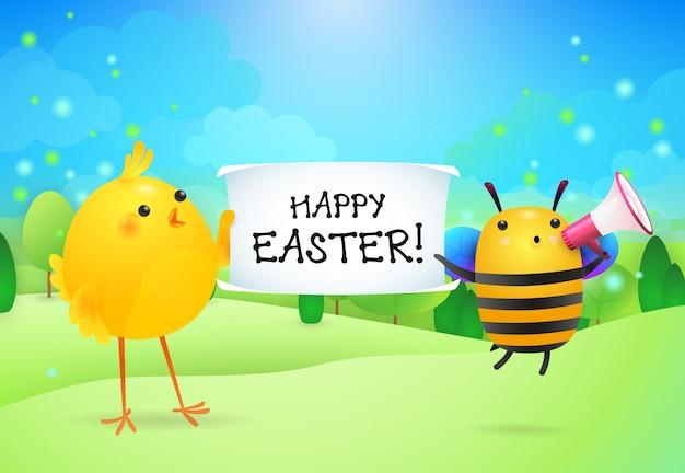 Wesołych świąt napis na baner trzymany przez kurczaka i pszczoły Darmowych Wektorów