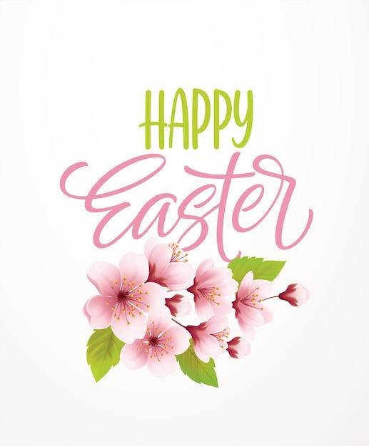 Wesołych świąt Pisma Napis Na Tle Z Gałęzi Kwitnącej Wiśni Wiosna. Ilustracja Wektorowa Eps10 Darmowych Wektorów