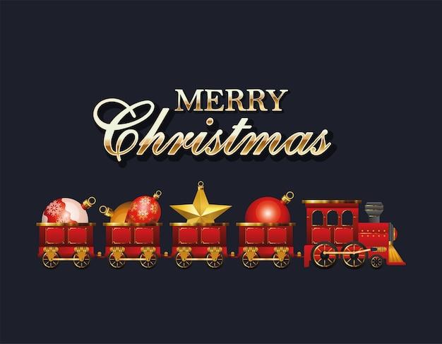 Wesołych świąt Pociąg Z Projektami Kul, Sezonem Zimowym I Motywem Dekoracji Premium Wektorów