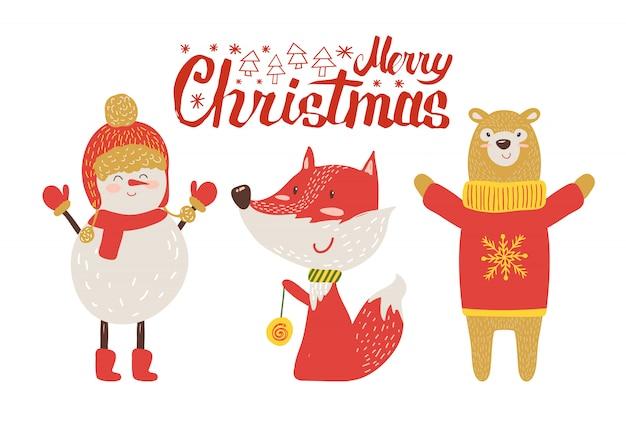 Wesołych świąt pocztówka, retro cartoon animals Premium Wektorów