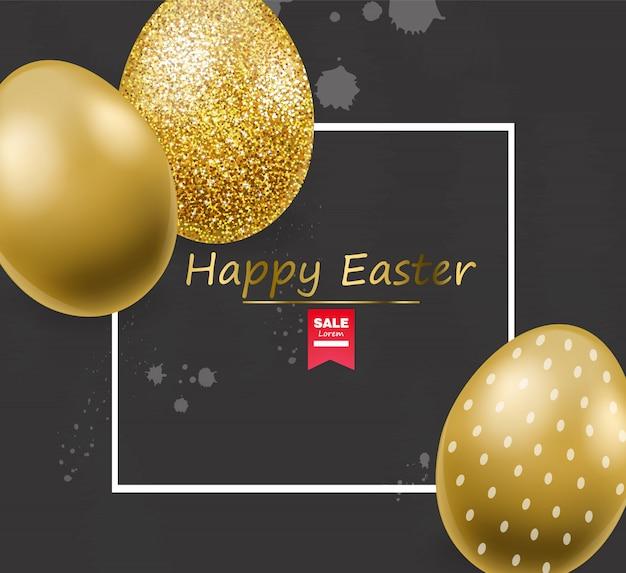 Wesołych świąt, Realistyczne Jajka, Transparent Złote Jaja Brokat, Czarne Tło Premium Wektorów