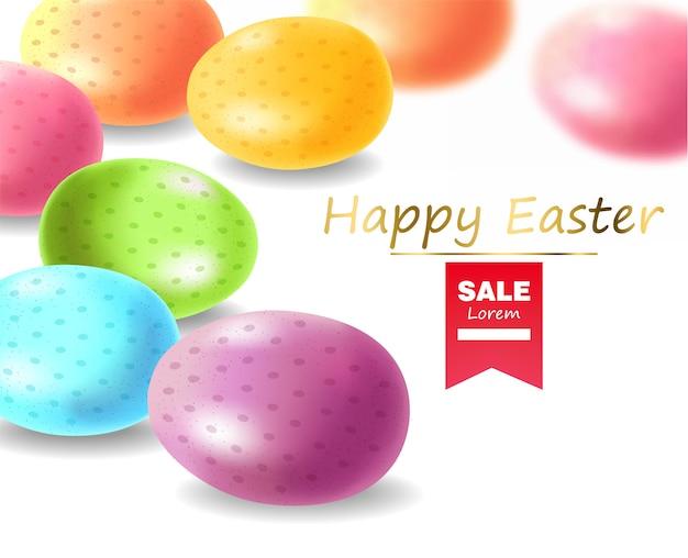 Wesołych świąt, Realistyczne Jajka, Transparentne Kolorowe Jajka Premium Wektorów