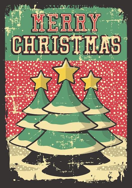 Wesołych świąt rocznika plakat Premium Wektorów
