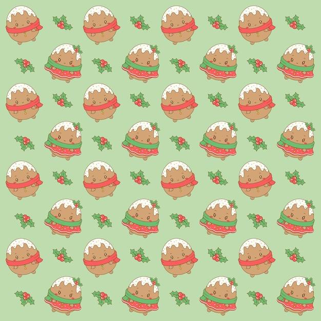 Wesołych świąt Słodkie Ciasteczka Imbirowe Rysunek Wzór Tła Do Pakowania Prezentów Premium Wektorów