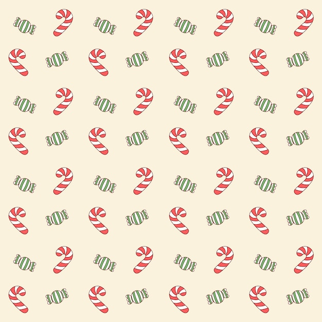 Wesołych świąt Słodkie Czerwone I Zielone Cukierki Rysunek Wzór Tła Do Pakowania Prezentów Premium Wektorów
