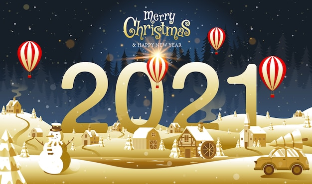 Wesołych świąt, Szczęśliwego Nowego Roku, Kaligrafia, Golden, Landscape Fantasy. Premium Wektorów