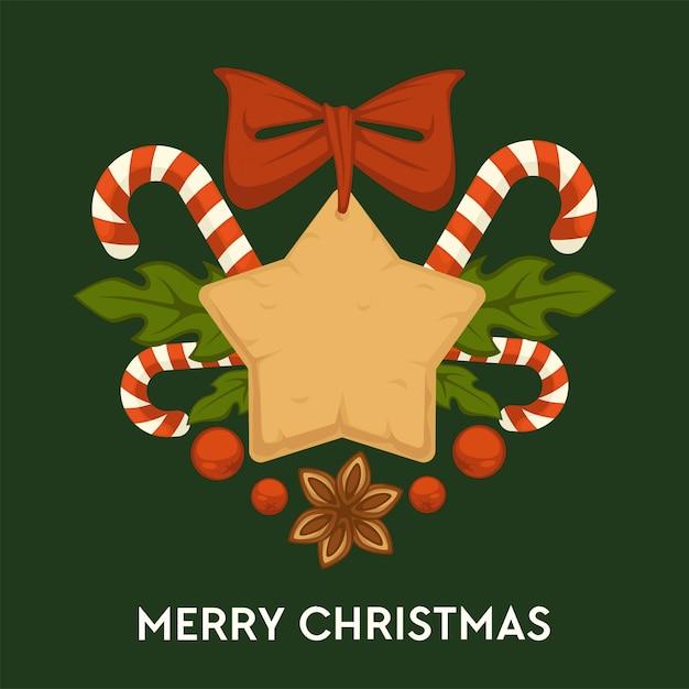 Wesołych świąt, Tradycyjne Piernikowe Ciasteczka I Cukierki Kartkę Z życzeniami Premium Wektorów