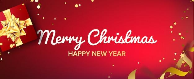 Wesołych świąt transparent wektor. pudełko z złotym łukiem. czerwone tło poziome Premium Wektorów