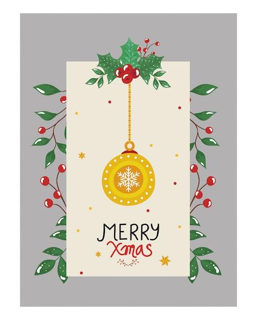 Wesołych świąt ulotka z wiszącą kulką i dekoracyjnymi listkami Darmowych Wektorów