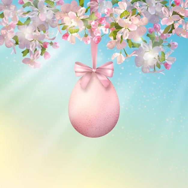 Wesołych świąt Wielkanocnych Ilustracji. Kwitnąca Gałąź Drzewa Na Wiosnę Z Wiszącymi Pisankami Premium Wektorów