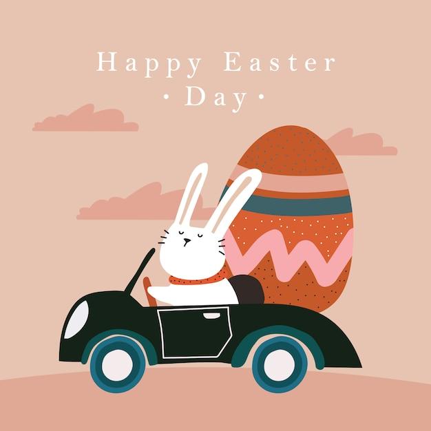 Wesołych świąt Wielkanocnych - Króliczek Z Samochodem Premium Wektorów