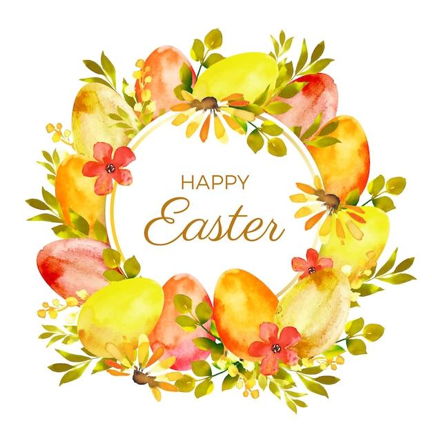 Wesołych świąt Wielkanocnych Stylu Przypominającym Akwarele Darmowych Wektorów