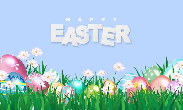 Wesołych świąt Wielkanocnych. świecić Zdobione Jajka Premium Wektorów