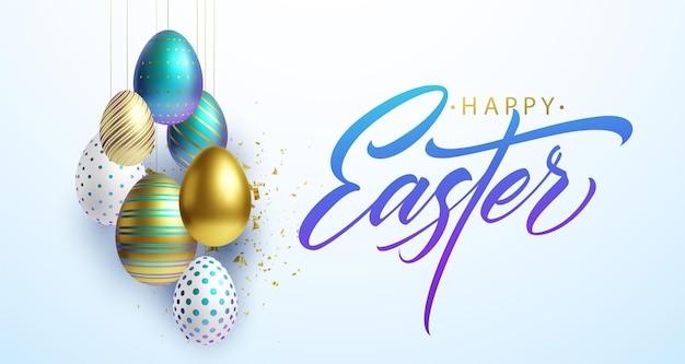 Wesołych świąt Wielkanocnych Tło Napis Z Realistycznymi Złotymi, Białymi I Niebieskimi Błyszczącymi Dekorowanymi Jajkami 3d, Konfetti. Ilustracja Wektorowa Eps10 Premium Wektorów