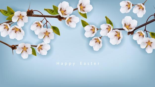 Wesołych świąt wielkanocnych. wiśniowe kwiaty tło Premium Wektorów