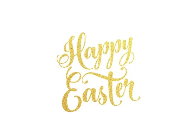 Wesołych świąt Wielkanocnych Złoty Napis Tekst Darmowych Wektorów