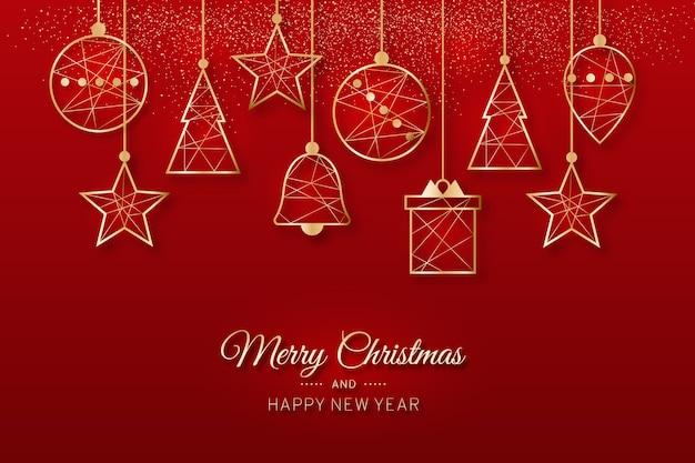 Wesołych świąt Wiszące Ozdoby Choinkowe W Odcieniach Czerwieni Premium Wektorów