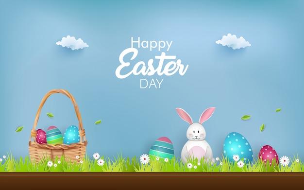 Wesołych świąt Z Ozdobnymi Jajkami, Słodkim Króliczkiem I Kwiatami. Premium Wektorów