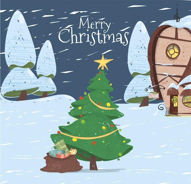 Wesołych świąt Z życzeniami święty Mikołaj House Premium Wektorów