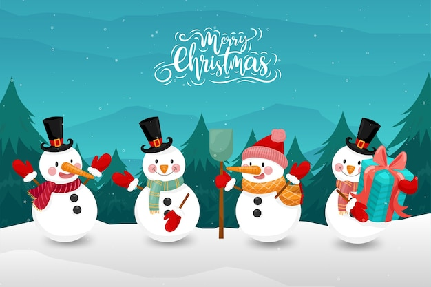 Wesołych świąt Ze Szczęśliwym Bałwanem W Zimie Darmowych Wektorów