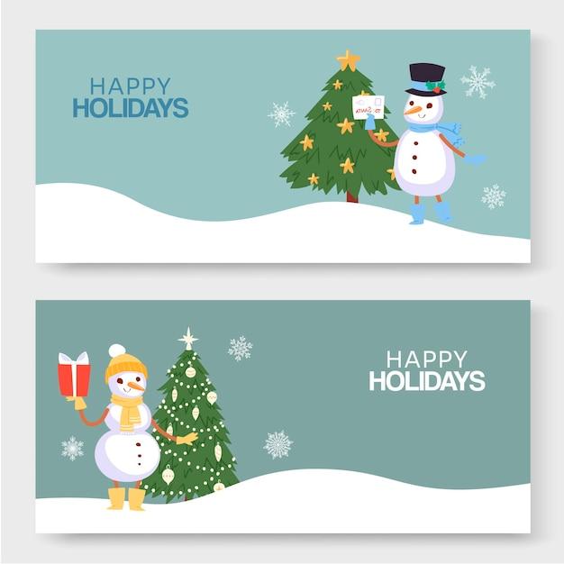 Wesołych świąt Zimowych, Nowego Roku I Bożego Narodzenia Ilustracja Dwóch Banerów. Premium Wektorów