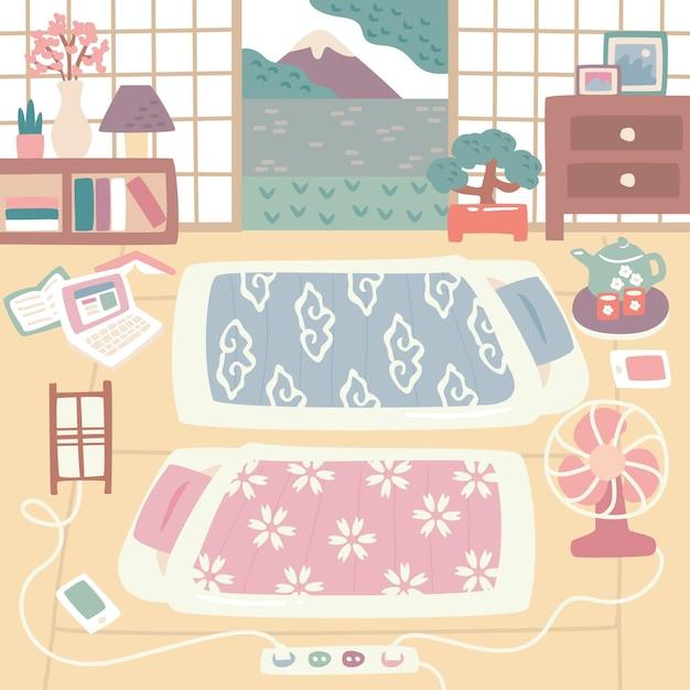 Wewnątrz Japońskie łóżka Futon Darmowych Wektorów