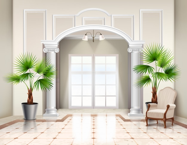 Wewnętrzne Palmy Wachlarzowe Jako Ozdobne Rośliny Doniczkowe W Klasycznym Przestronnym Wnętrzu Przedsionka Realistyczne Darmowych Wektorów