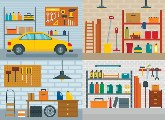 Wewnętrzny pokój samochodowy w garażu Premium Wektorów