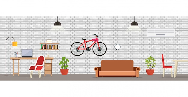 Wewnętrzny Pokój Z Białym ściana Z Cegieł. Premium Wektorów