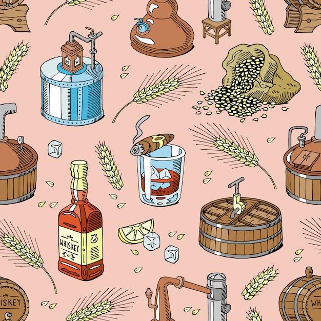 Whisky Alkohol Napój Brandy W Szkle I Pić Szkocką Lub Bourbon W Butelce Ilustracja Zestaw Destylacji Wzór Tła Premium Wektorów