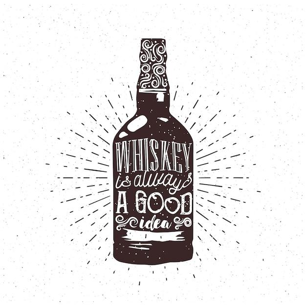 Whisky To Zawsze Dobry Pomysł - Tekst W Butelce Whisky. Grawerowanie Tematyczne Whisky Do Kawiarni Lub Pubu. Wektor. Premium Wektorów