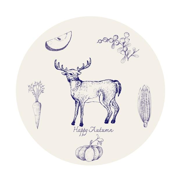 Whitetail Deer Z Jesieni Owoców I Warzyw Premium Wektorów