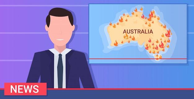 Wiadomości Dziennikarstwo Reporter Na żywo Nadawanie Australijskie Pożary Globalne Ocieplenie Klęski żywiołowe Módlcie Się Za Australii Koncepcja Mapa Z Portretem Płaskie Premium Wektorów