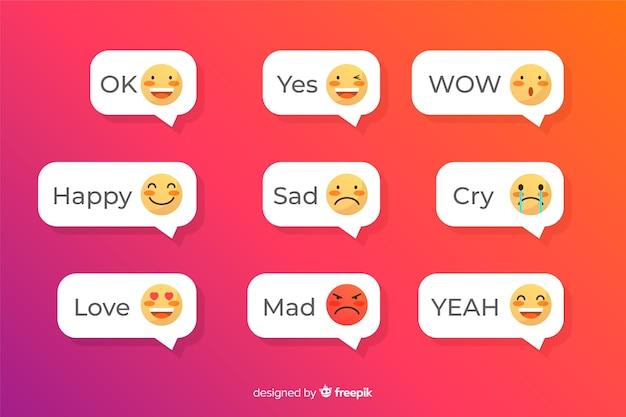 Wiadomości tekstowe z aplikacją emoji Darmowych Wektorów