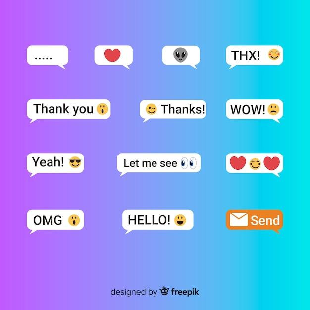 Wiadomości tekstowe z emoji Darmowych Wektorów