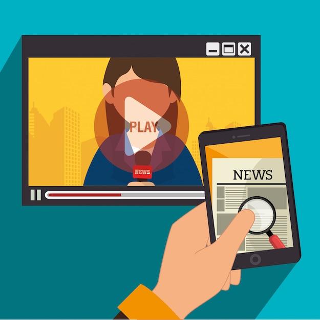 Wiadomości w środkach masowego przekazu w telewizji i urządzeniach mobilnych Darmowych Wektorów