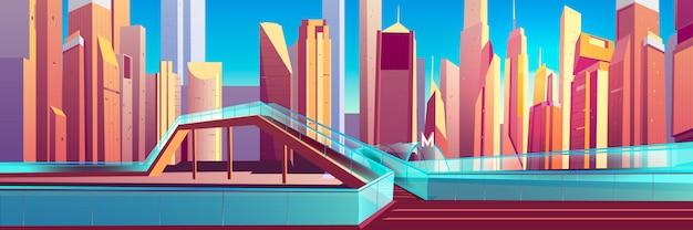 Wiadukt dla pieszych w nowoczesnym mieście kreskówka wektor Darmowych Wektorów