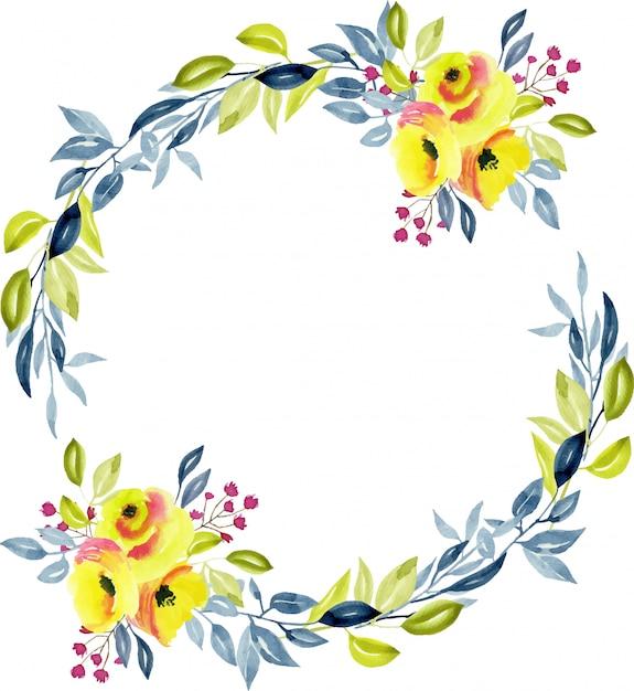 Wianek z żółtymi różami, niebieskimi i zielonymi gałęziami Premium Wektorów