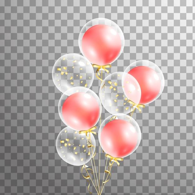 Wiązka Przejrzysty Balon Na Tle. Balony Matowe Na Imprezę. Balony Odizolowane W Powietrzu. Dekoracje Na Urodziny, Rocznicę, Uroczystości. Połysk Przezroczysty Balon. Premium Wektorów